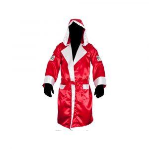 Bata de boxeo con capucha, color rojo/blanco