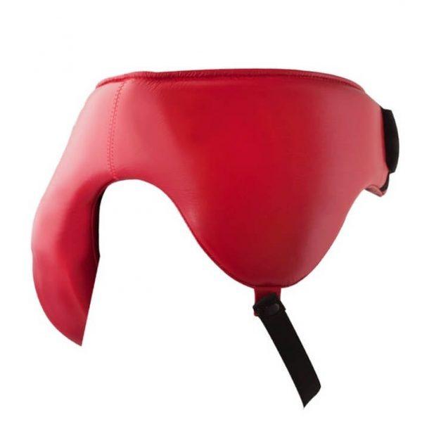 Copa protecora con riñonera 100% auténtica piel, rojo