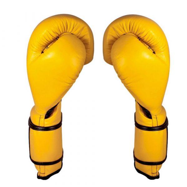 Guantes de entrenamiento 100% auténtica piel con velcro, amarillo