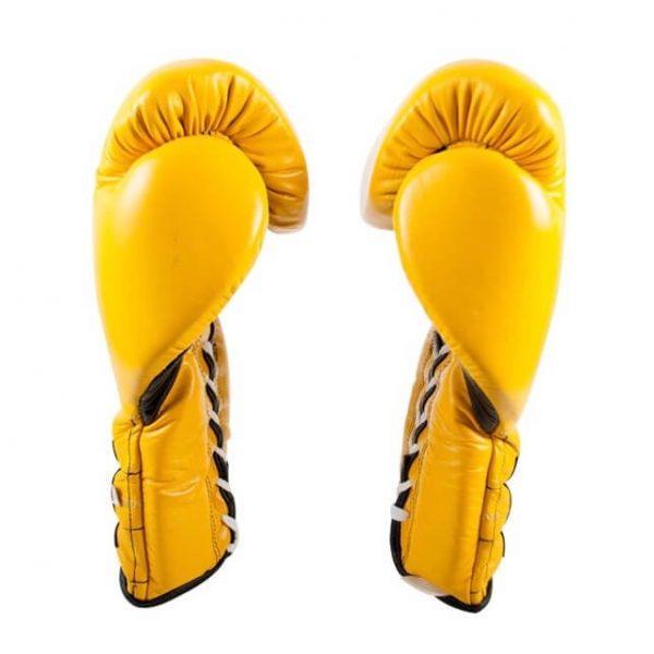 Guantes entrenamiento, pulgar sujeto, de piel de res en amarillo