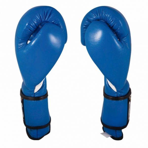 Guantes de entrenamiento 100% auténtica piel con velcro, azul