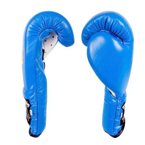 Guantes entrenamiento, pulgar sujeto, de piel de res en azul