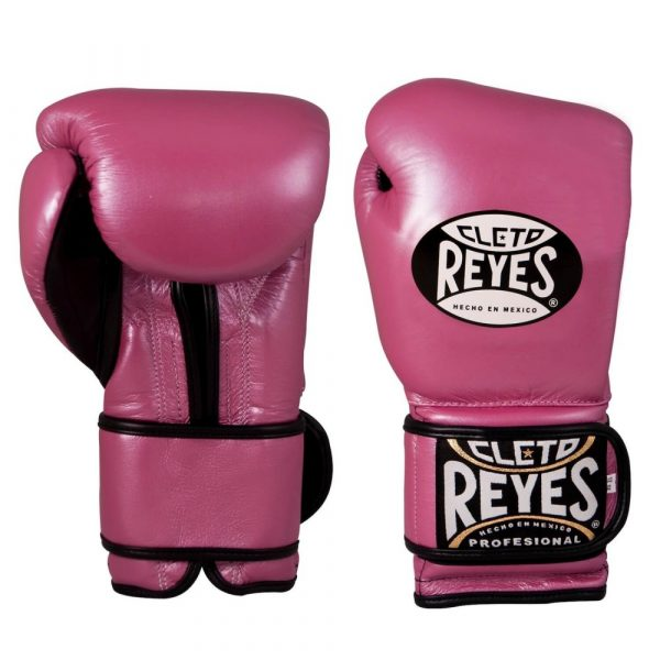 Guantes entrenamiento, pulgar sujeto, de piel de res en rosa