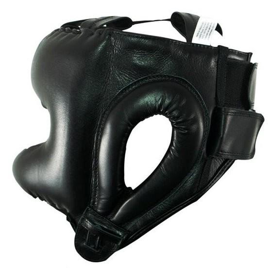 Protector de cabeza tradicional 100% auténtica piel, negro