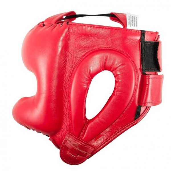 Protector de cabeza tradicional 100% auténtica piel, rojo