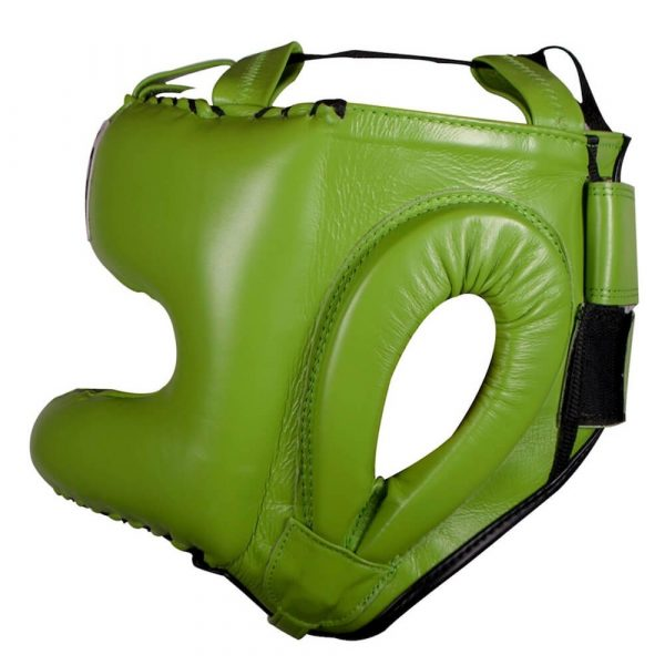 Protector de cabeza tradicional 100% auténtica piel, verde limón