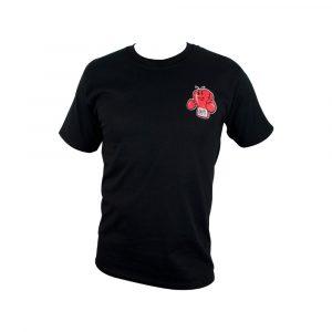 Camiseta de algodón con logo impreso, negro