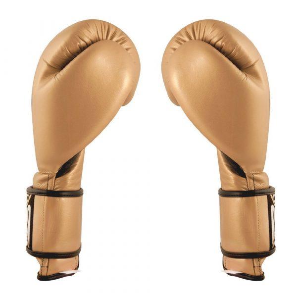 Guantes de entrenamiento 100% auténtica piel con velcro, dorado