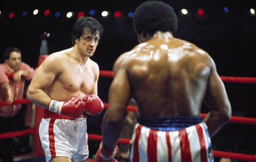 Rocky Balboa, el boxeador más famoso de la ficción, con los guantes Cleto Reyes.